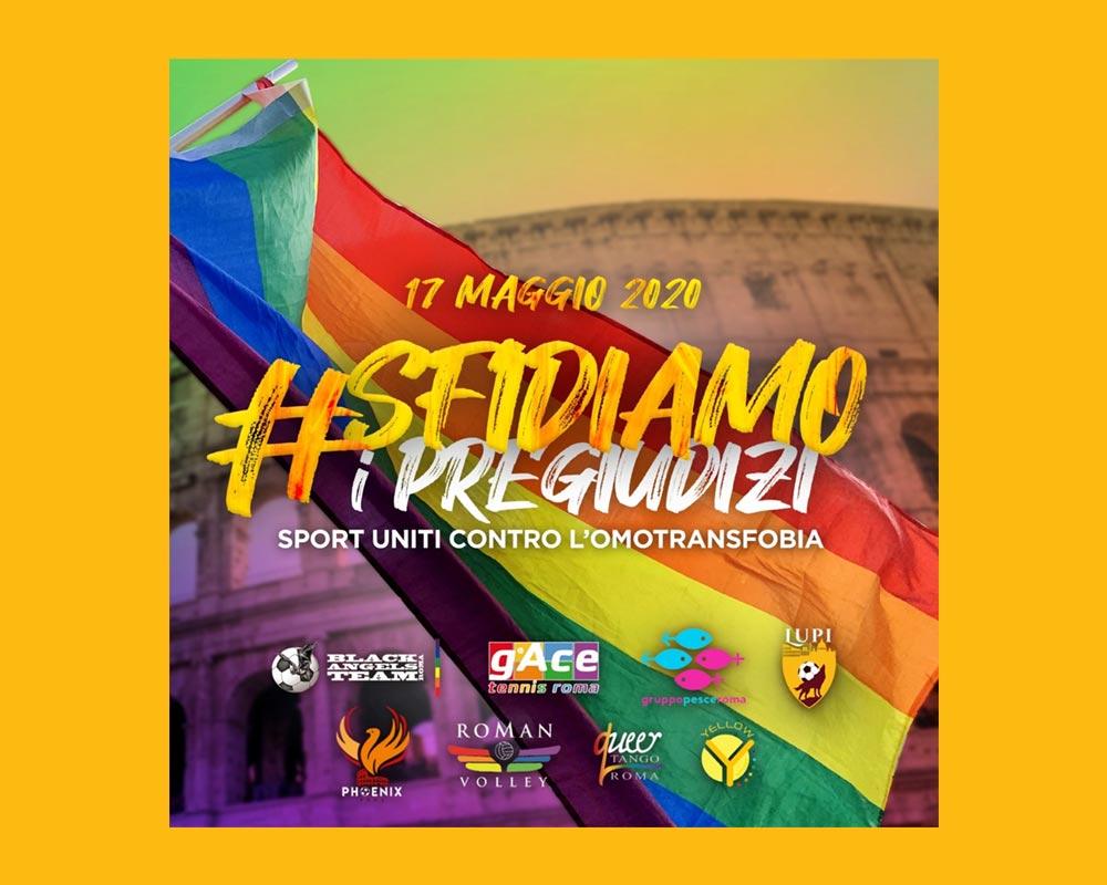 Bandiera Arcobaleno Gay con sfondo Colosseo