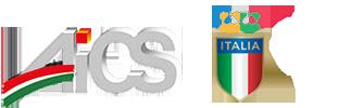 Immagine del logo AICS con il logo Coni